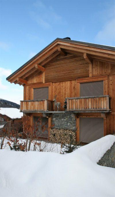 Chalet-montagne-Arte-Meribel-JMV-Resort-vue d'extérieur-balcon-neige-
