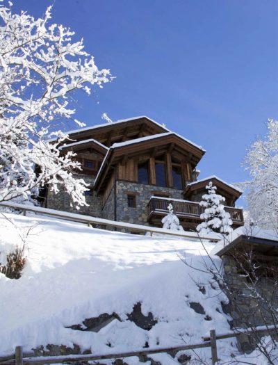 Chalet-P-montagne-Meribel-JMV-Resort-neige-façade bois- devanture- extérieur- neige