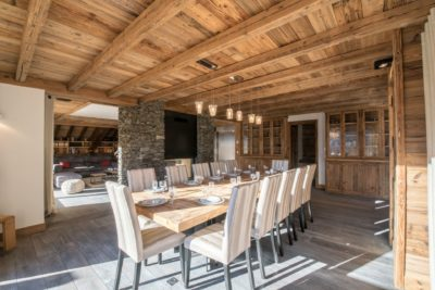 Chalet-Queen-Mijane-montagne-Meribel-JMV-Resort-salle à manger-table- bois