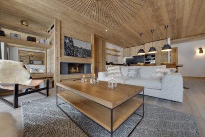 Résidence - La Forêt - Val d'Isère - salon - bois - table basse - JMV Resort 2