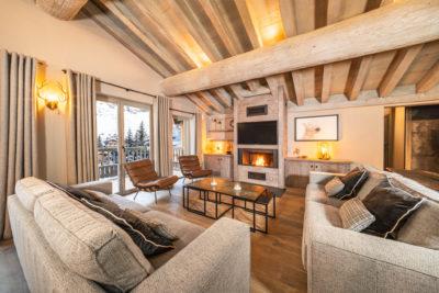 Résidence - ASPEN Les suites des 5 frères - Val d'Isère - montagne - architecture - jmv resort - salon - appartement